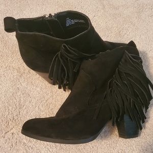 Black Leather Fringe Poncho Booties